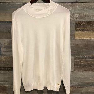 Calvin Klein cream mock turtleneck sweater L